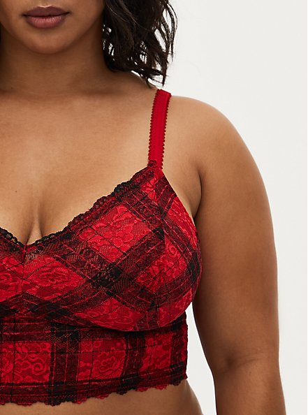 Red Plaid Lace Unlined Bralette , HOLIDAY PLAID, alternate