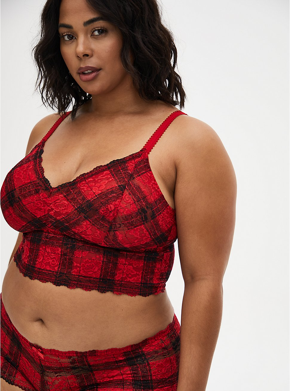 Plus Size Red Plaid Lace Lightly Padded Bralette , HOLIDAY PLAID, hi-res