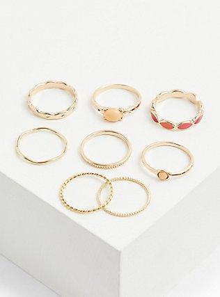 Gold-Tone & Coral Enamel Ring Set - Set of 8, CORAL, alternate