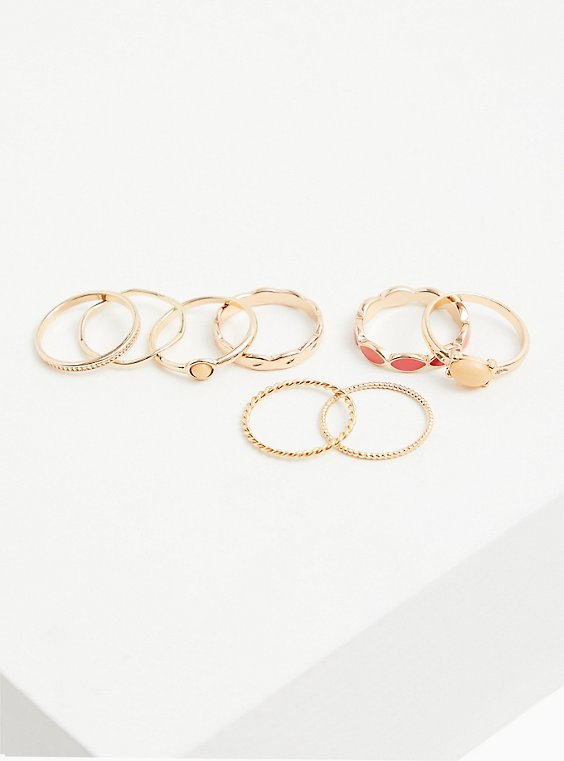 Gold-Tone & Coral Enamel Ring Set - Set of 8, , hi-res
