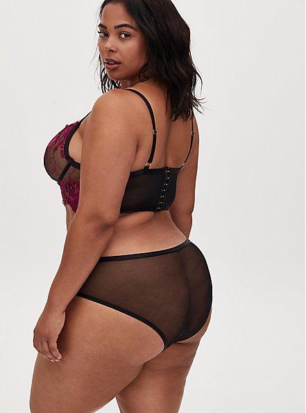 Black Mesh & Berry Pink Embroidered Hipster Panty, NAVARRA, alternate