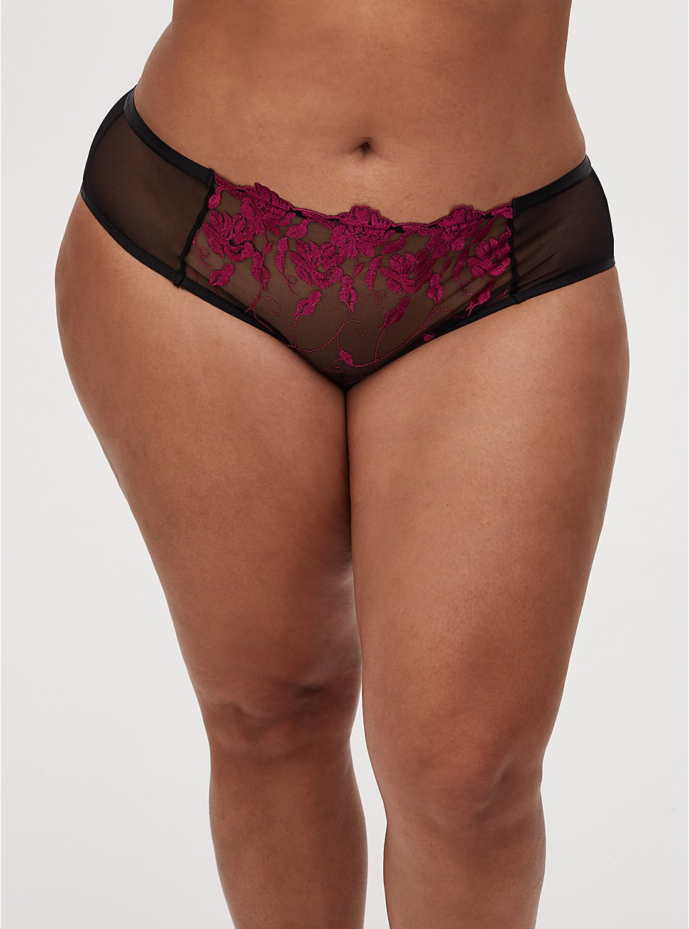 Black Mesh & Raspberry Pink Embroidered Hipster Panty, , hi-res