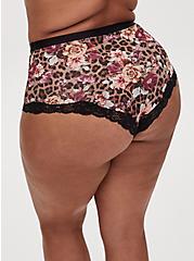 Leopard Roses Microfiber High Waist Panty , LEOPARD FLORAL PURPLE, alternate