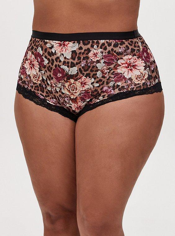 Leopard Roses Microfiber High Waist Panty , , hi-res