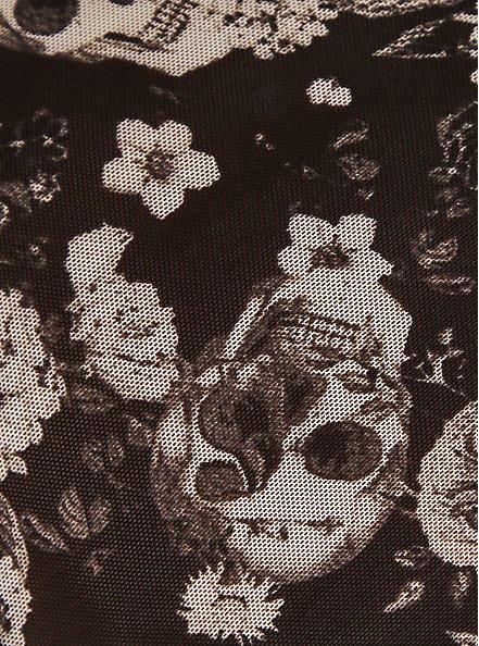 Plus Size Black Skull Floral Power Mesh Cage Back Hipster Panty, ALLOVER BOUQUET SKULLS BLACK, alternate