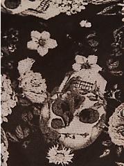 Black Skull Floral Power Mesh Cage Back Hipster Panty, ALLOVER BOUQUET SKULLS BLACK, alternate
