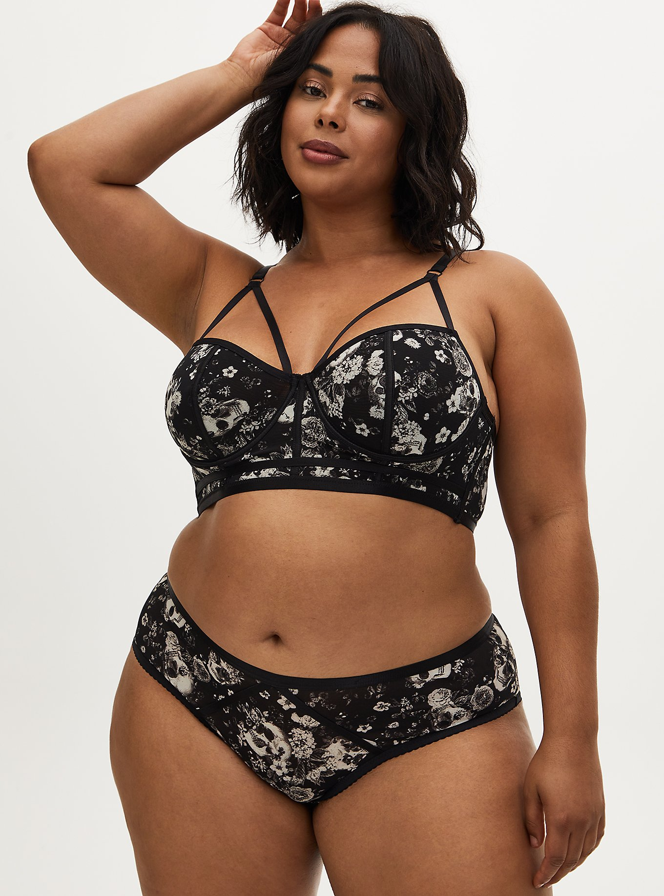 Skull Floral Power Mesh Strappy Longline Underwire Bralette and Hipster Panty, , hi-res