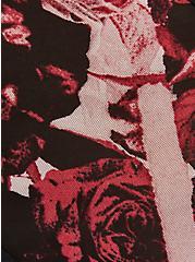 Plus Size Black & Red Rose Power Mesh Caged Back Hipster Panty, TORN ROSE FLORAL BLACK, alternate