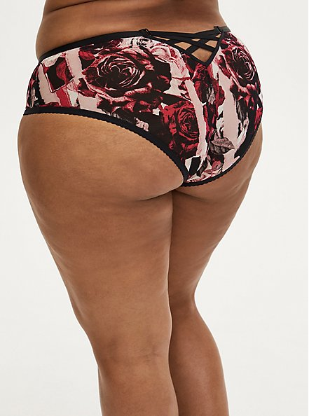 Black & Red Rose Power Mesh Caged Back Hipster Panty, TORN ROSE FLORAL BLACK, hi-res