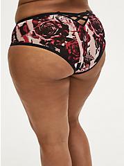 Plus Size Black & Red Rose Power Mesh Caged Back Hipster Panty, TORN ROSE FLORAL BLACK, hi-res