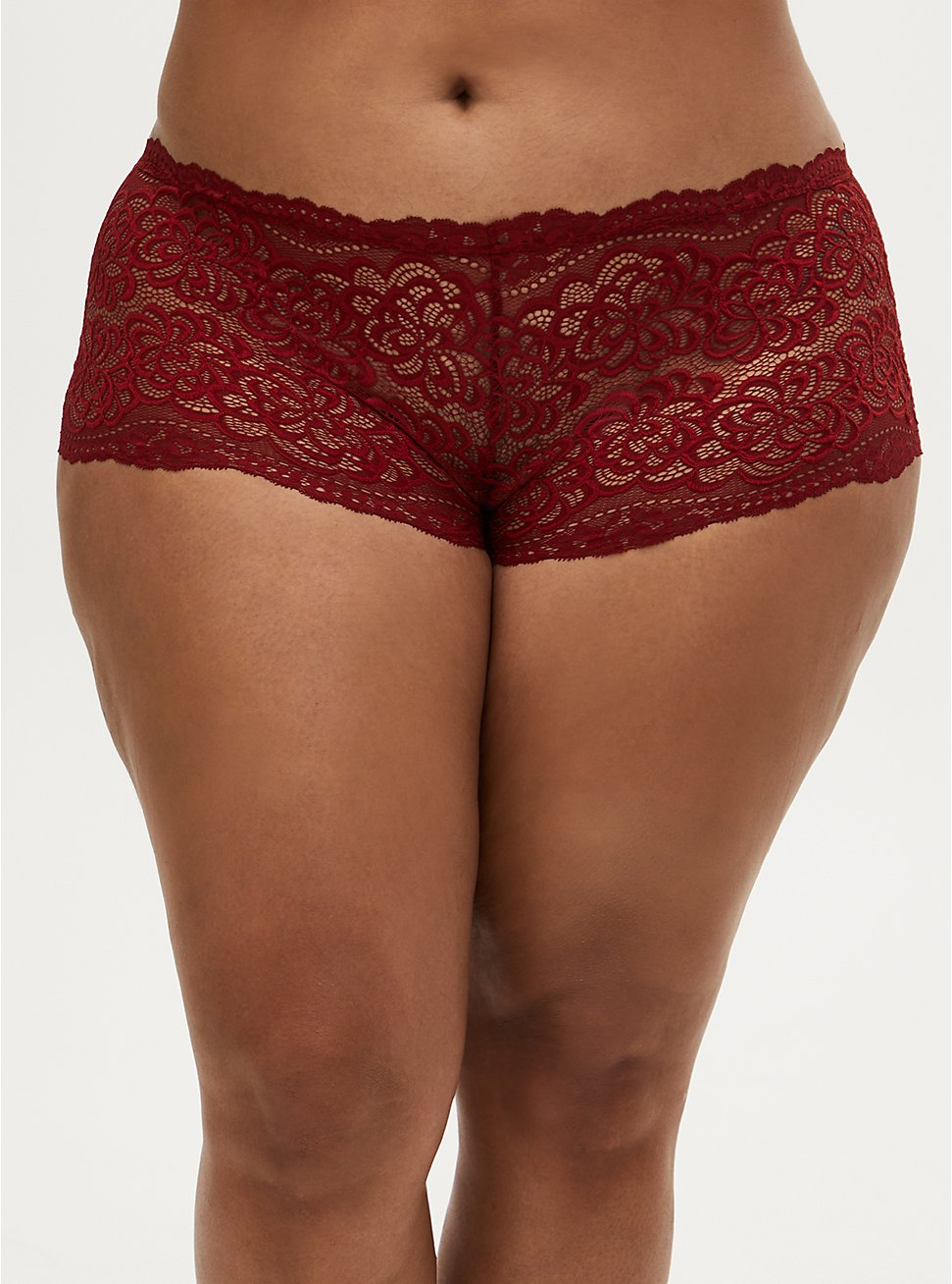 Dark Red Lace Cheeky Panty, JESTER RED, hi-res