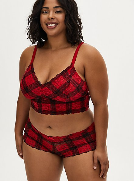Plus Size Red Plaid Lace Cheeky Panty, SPLAT PLAID, alternate