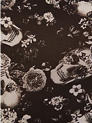 Black Skull Floral Power Mesh High Waist Panty, ALLOVER BOUQUET SKULLS BLACK, alternate