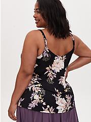 Black Floral Studio Knit Lace Trim Button Front Swing Cami, DEEP BLACK, alternate