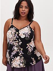 Black Floral Studio Knit Lace Trim Button Front Swing Cami, DEEP BLACK, hi-res