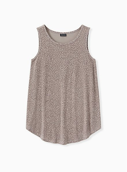 Pebble Grey Abstract Floral Studio Knit High Neck Tank, BRUSHSTROKE - MULTI, hi-res