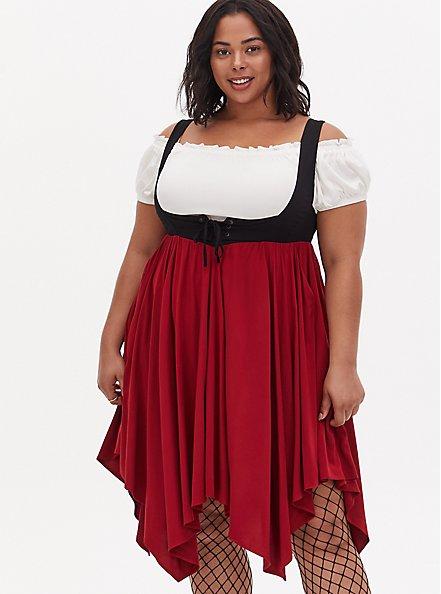 Halloween Costume Pirate Wench Set, RED  WHITE  BLACK, alternate