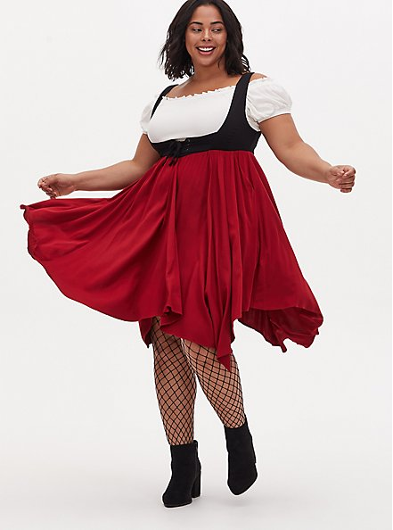 Halloween Costume Pirate Wench Set, RED  WHITE  BLACK, hi-res