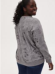 Disney Mickey Mouse & Friends Heather Grey Terry Keyhole Sweatshirt, MULTI, alternate