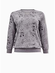 Disney Mickey Mouse & Friends Heather Grey Terry Keyhole Sweatshirt, MULTI, hi-res