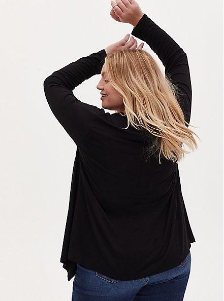 Super Soft Black Drape Front Cardigan, DEEP BLACK, alternate