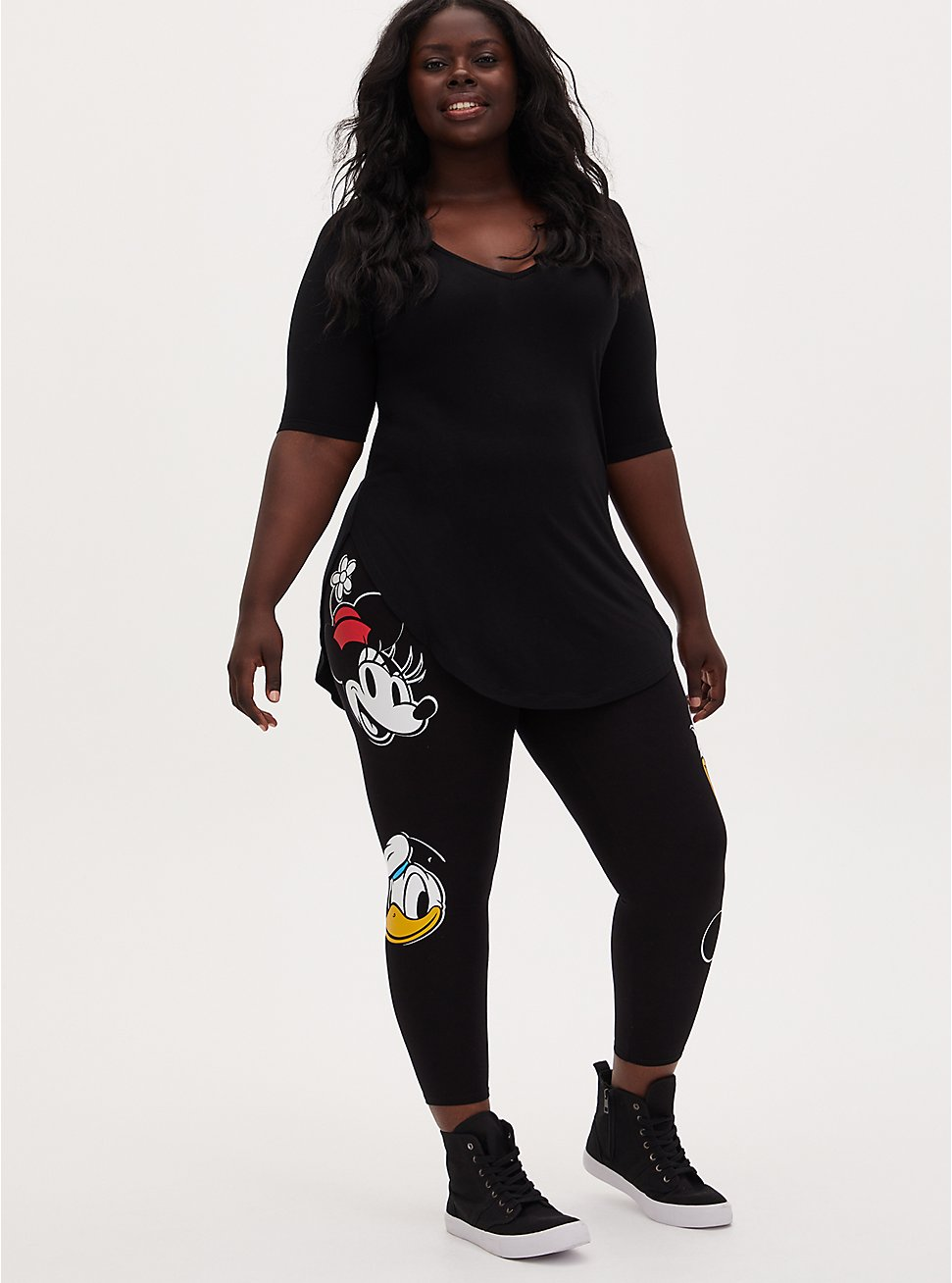 Plus Size Disney Mickey Mouse & Friends Black Crop Legging, DEEP BLACK, hi-res