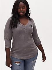 Disney The Nightmare Before Christmas Halloween Slate Grey Waffle Knit Henley Top, DARK PEARL GREY, alternate