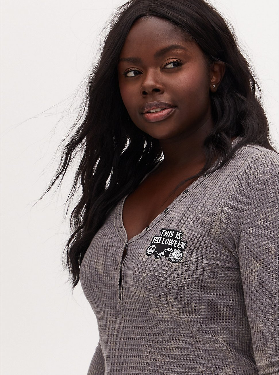Disney The Nightmare Before Christmas Halloween Slate Grey Waffle Knit Henley Top, DARK PEARL GREY, hi-res