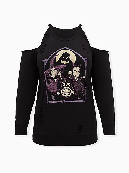 Disney The Nightmare Before Christmas Oggie Boys Black Cold Shoulder Sweatshirt, DEEP BLACK, hi-res