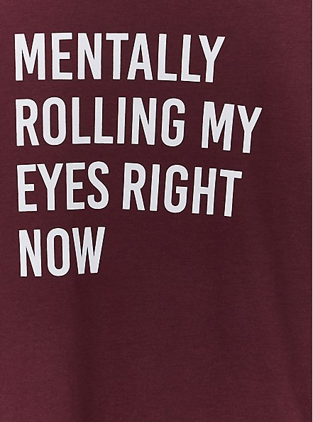 Rolling My Eyes Slim Fit Crew Tee - Burgundy Purple, WINETASTING, alternate
