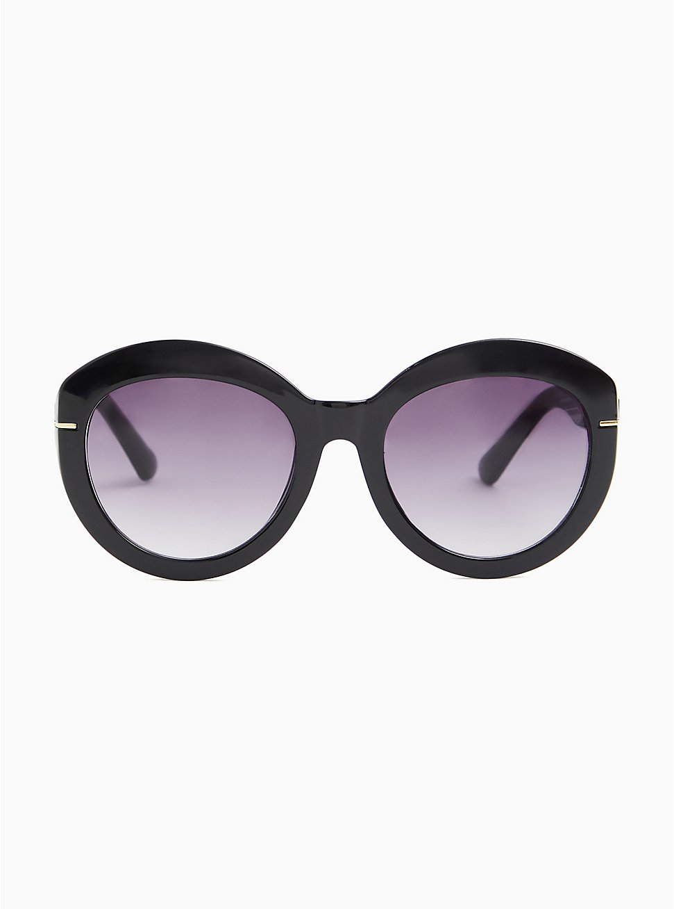 Plus Size Black Oversized Oval Sunglasses, , hi-res