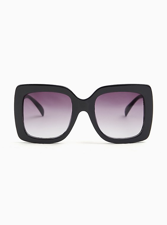 Black Oversized Square Sunglasses, , hi-res