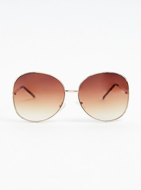 Gold-Tone Metal Side Cutout Oversized Sunglasses, , hi-res