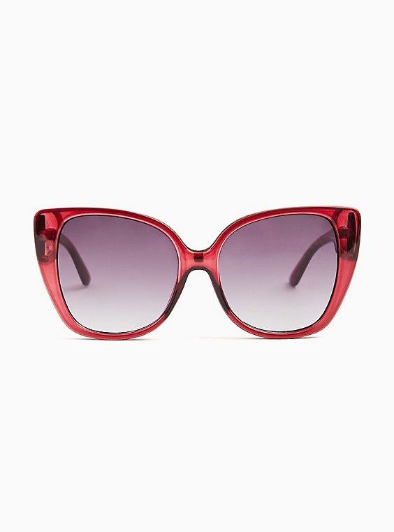 Dark Pink Cat Eye Sunglasses, , hi-res