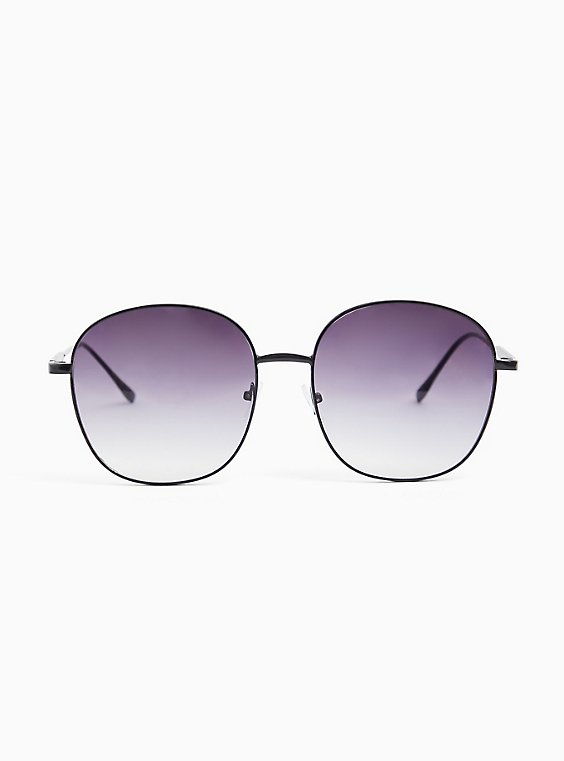 Black Round-Square Sunglasses, , hi-res