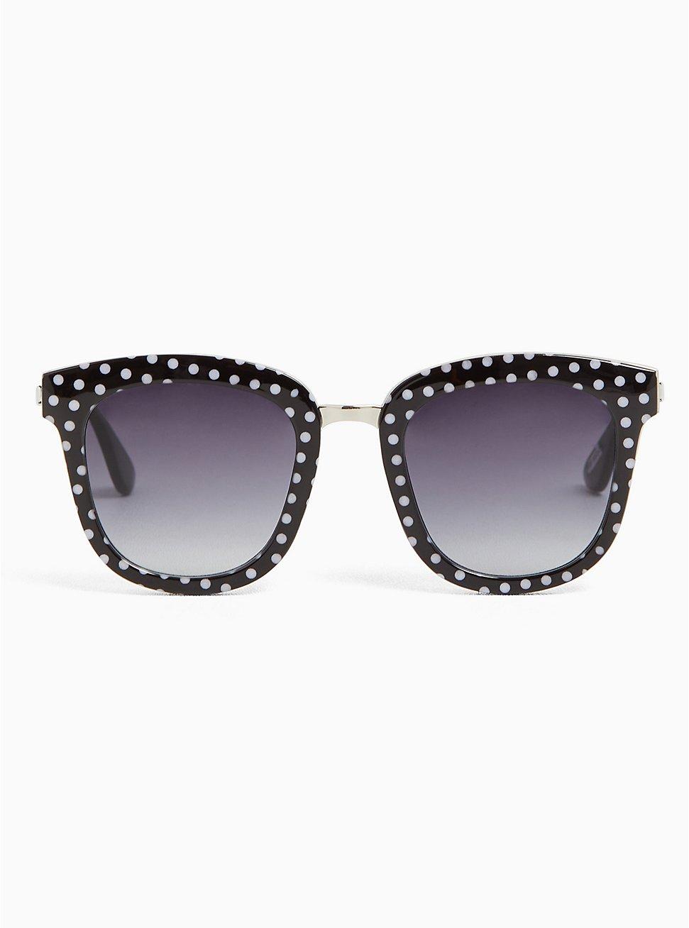 Black & White Polka Dot Cat Eye Sunglasses, , hi-res