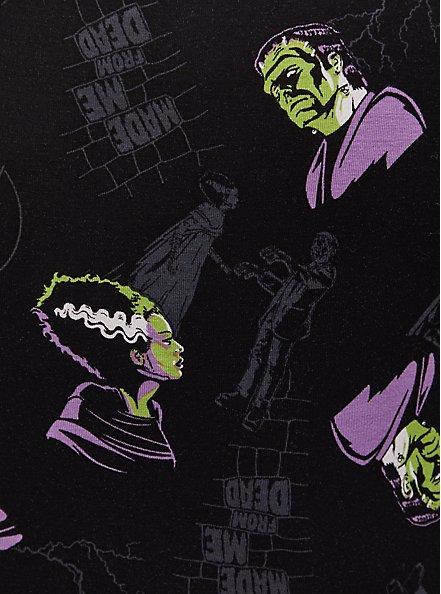 Plus Size Universal Monster's Frankenstein & Bride Of Frankenstein Black Skater Dress, MULTI, alternate