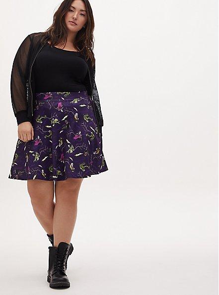 Universal Monster's Purple Scuba Knit Skater Skirt , MULTI, alternate