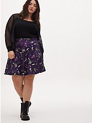 Plus Size Universal Monster's Purple Scuba Knit Skater Skirt , MULTI, alternate
