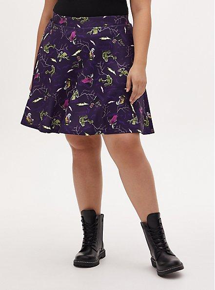 Universal Monster's Purple Scuba Knit Skater Skirt , MULTI, hi-res