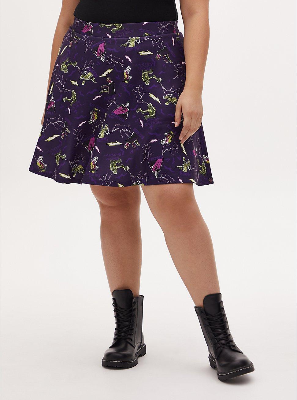 Plus Size Universal Monster's Purple Scuba Knit Skater Skirt , MULTI, hi-res