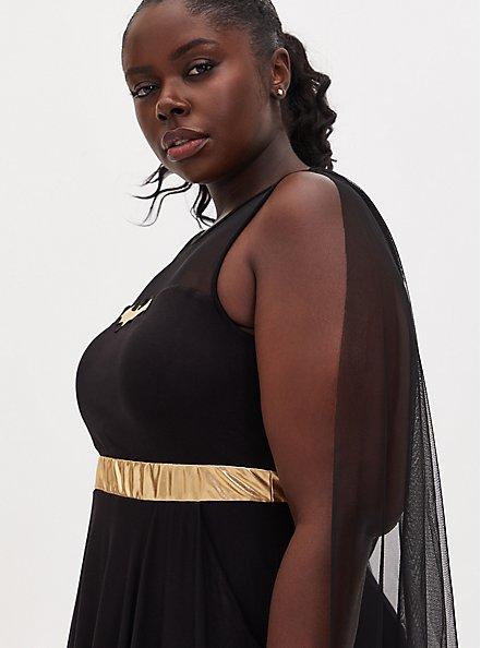 Batman Black Hi-Lo Skater Dress with Cape, DEEP BLACK, alternate