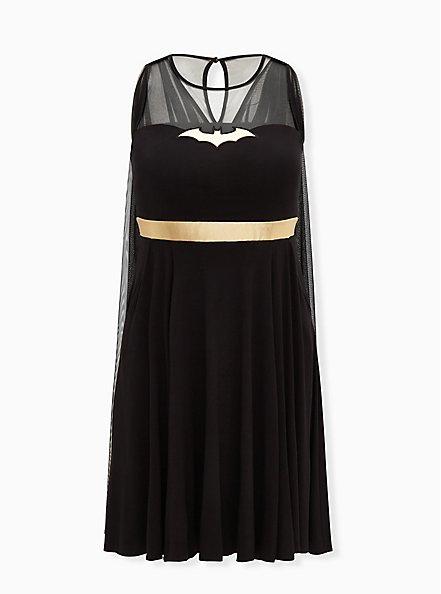 Batman Black Hi-Lo Skater Dress with Cape, DEEP BLACK, hi-res