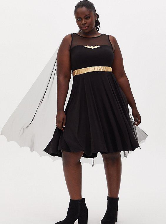 Batman Black Hi-Lo Skater Dress with Cape, , hi-res