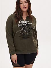 Universal Monster's Black Lagoon Olive Green Fleece Sweatshirt, DEEP DEPTHS, hi-res