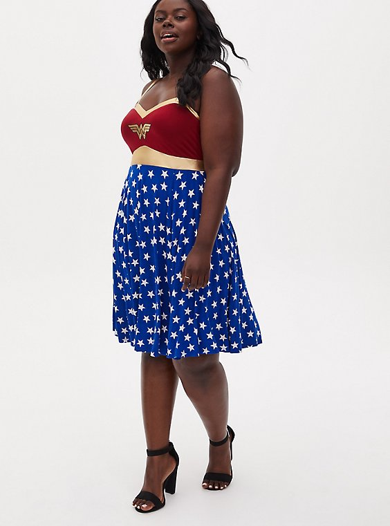 Wonder Woman Red & Blue Star Skater Dress, , hi-res