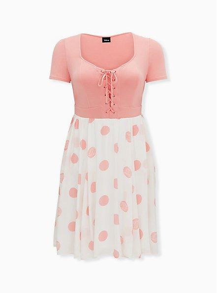 Disney Pixar Toy Story Bo Peep Pink Polka Dot Knit to Woven Dress , PINK  WHITE, hi-res