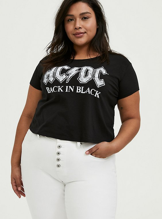 AC/DC Back In Black Black Crop Crew Tee, DEEP BLACK, hi-res