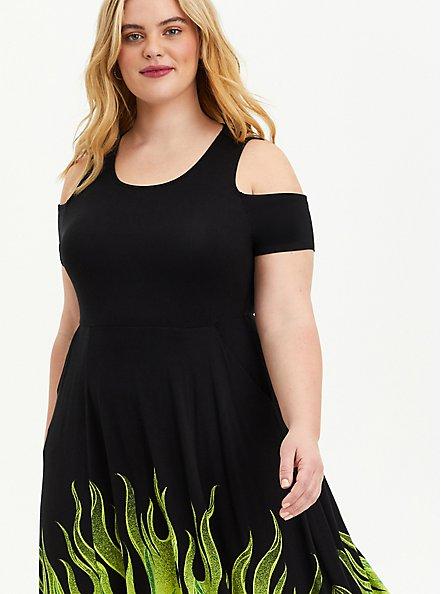 Plus Size Disney Sleeping Beauty Maleficent Flame Cold Shoulder Sharkbite Black Dress , BLACK  GREEN, alternate