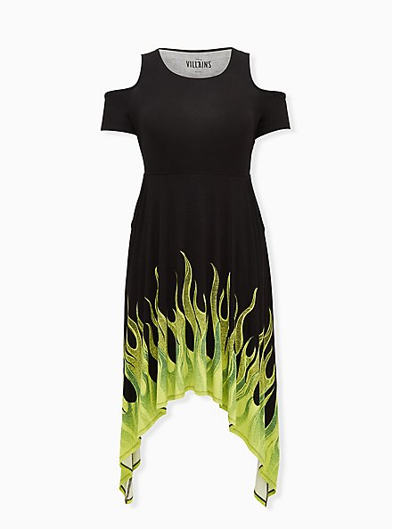 Plus Size Disney Sleeping Beauty Maleficent Flame Cold Shoulder Sharkbite Black Dress , BLACK  GREEN, hi-res